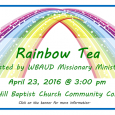 The Wateree Baptist Association Upper Division Missionary Ministry is sponsoring a Rainbow Tea as a fundraiser to support designated foreign mission activities. This is one of two planned events […]